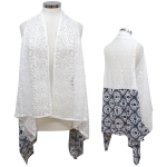 CP7421 Long Lace Cover Up Vest W/ Bottom Print