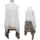 CP7422 Long Lace Cover Up Vest W/ Bottom Print