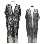 CP7423 Long Lace Cover Up W/ Fringe