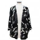 CP7428 Feather Print Kimono Poncho