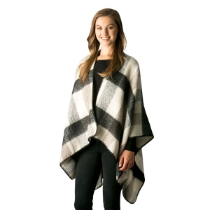 CP7502 Check/Plaid Pattern Cape Shawl