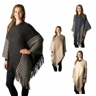 CP7504 Striped Poncho W/ Fringe