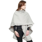 CP7506 Pleated Edge Cape Shawl, Grey