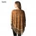 CP7509 Animal Print Faux Fur Poncho W/ Suede Fringe