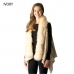 CP7510 Textured Fauxfur vest w/ Fur Collar