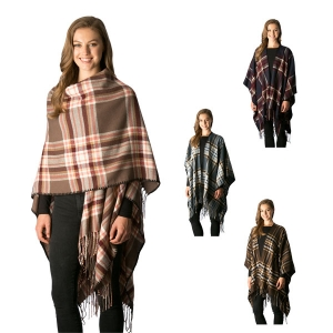 CP7513 Plaid Cape Shawl W/ Fringe