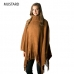 CP7515 Soft Textured Solid Turtle Neck Poncho