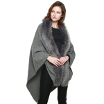 CP7517 Faux Fur Trimmed Cape Shawl, Grey