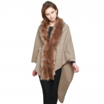 CP7517 Faux Fur Trimmed Cape Shawl, Taupe