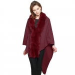 CP7517 Faux Fur Trimmed Cape Shawl, Burgundy