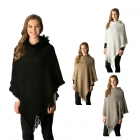 CP7519 Hooded Poncho W/ Fringe