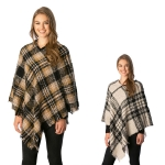 CP7523 Multi Colored Plaid Poncho