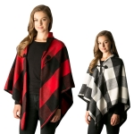 CP7524 Soft Textured Plaid Cape Shawl W/Toggle