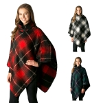 CP7528 Plaid Check Pattern Poncho W/Buckle Collar Accent