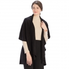 CP7530 Solid Basic Cape Shawl Vest, Black