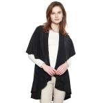 CP7530 Solid Basic Cape Shawl Vest, Black