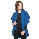 CP7530 Solid Basic Cape Shawl Vest, Blue