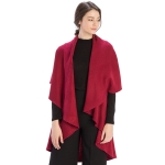 CP7530 Solid Basic Cape Shawl Vest, Burgundy