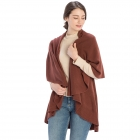 CP7530 Solid Basic Cape Shawl Vest, Cocoa