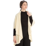 CP7530 Solid Basic Cape Shawl Vest, Cream