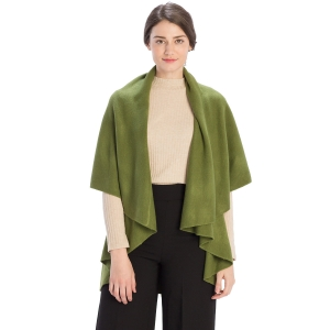 CP7530 Solid Basic Cape Shawl Vest, Green