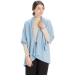 CP7530 Solid Basic Cape Shawl Vest, Light Blue
