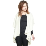 CP7530 Solid Basic Cape Shawl Vest, White (Ivory)