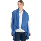 CP7530 [New Color] Solid Basic Cape Shawl Vest, Blue