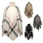 CP7534 Stripe Turtle Neck Poncho