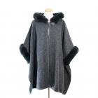 CP7535 Faux Fur Cape Shawl w/Hood