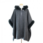 CP7535 Faux Fur Cape Shawl w/Hood