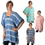CP8564 Viscose Tie Dye Poncho Cape with Tassel