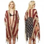 CP1201 American Flag Pattern w/Tassles Poncho