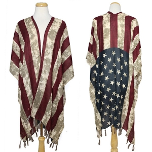 CP8571 AMERICAN FLAG PONCHO CAPE
