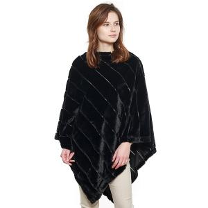 CP8601 Soft Faux Fur Diagonal Lined Poncho, Black