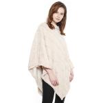 CP8601 Soft Faux Fur Diagonal Lined Poncho, Ivory