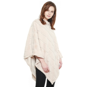 CP8601 Soft Faux Fur Diagonal Lined Poncho, Ivory