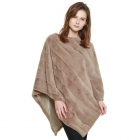 CP8601 Soft Faux Fur Diagonal Lined Poncho, Taupe