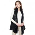 CP8603 Faux Fur Trimmed Solid Vest, Black
