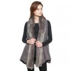 CP8603 Faux Fur Trimmed Solid Vest, Grey