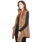 CP8603 Faux Fur Trimmed Solid Vest, Taupe