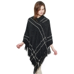 CP8608 Soft Hooded Chenille Poncho W/ Fringes, Black