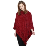 CP8608 Soft Hooded Chenille Poncho W/ Fringes, Burgundy