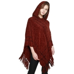 CP8608 Soft Hooded Chenille Poncho W/ Fringes, Coffee