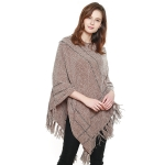 CP8608 Soft Hooded Chenille Poncho W/ Fringes, Taupe
