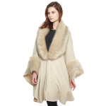 CP8609 Luxurious Faux Fur Accented Cape Shawl, Ivory