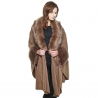 CP8609 Luxurious Faux Fur Accented Cape Shawl, Taupe