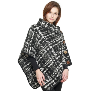 CP8610 Check Patterned Woven Poncho, Black
