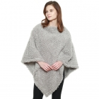 CP8613 Soft Textured Boucle Faux Fur Poncho, Grey