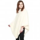 CP8613 Soft Textured Boucle Faux Fur Poncho, Ivory